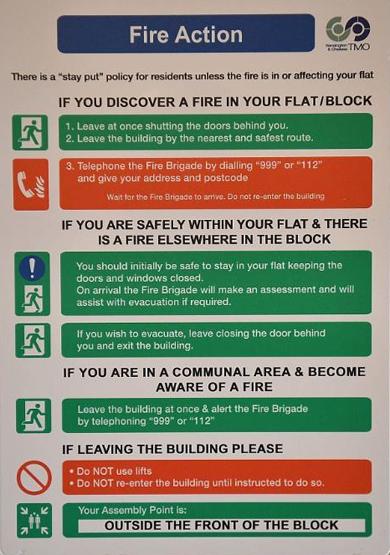 Brandinstructies Engeland 555